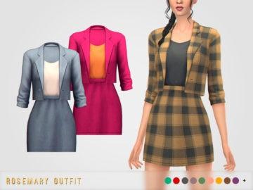 Женский костюм для Sims 4 - пиджак и юбка - Rosemary Outfit