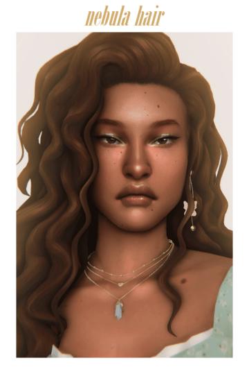 Женская прическа для Sims 4 с объемной кудрявой прической - Nebula Hair
