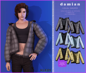 Мужская толстовка для Sims 4 - Damien Casual Sweater