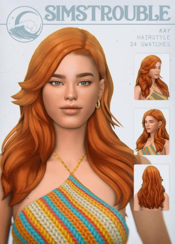 Женская прическа для Sims 4 в стиле 70-х - Kay