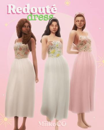 Воздушное платье для Sims 4 - Redouté dress