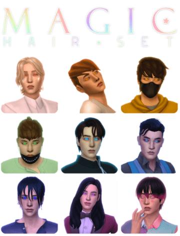 Большой пак мужских причесок для Sims 4 - Magic Hair Pack