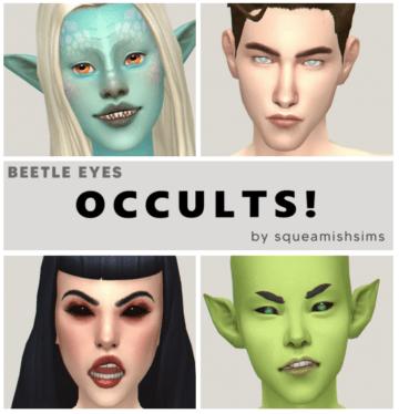 Дефолтные глаза для Sims 4 сверхъестественных симов - Beetle Eyes Occults