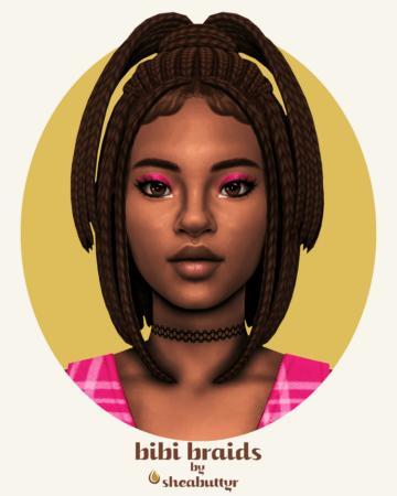 Женская прическа для Sims 4 с афро-косичками - Bibi Braids