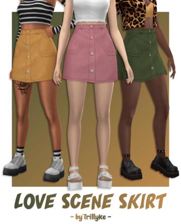 Вельветовая юбка для Sims 4 - Love Scene Skirt