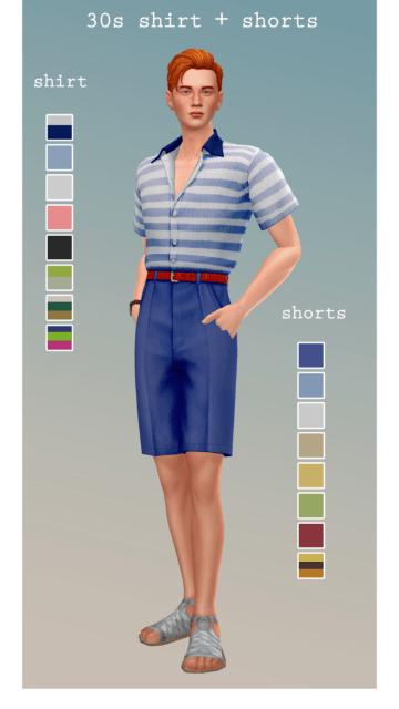 Набор мужской одежды - 1930s shirt and shorts