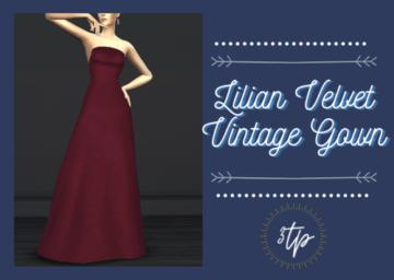 Бархатное платье для Sims 4 - Lilian Dress