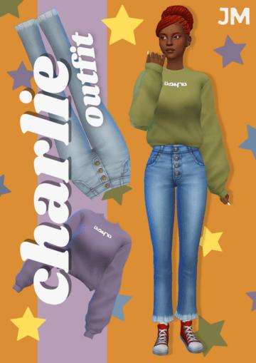 Женский свитшот и джинсы для Sims 4 - Charlie Outfit