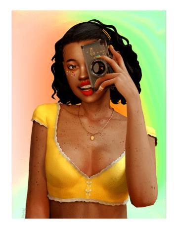 Блузка с глубоким декольте для Sims 4 - Joy Crop Top