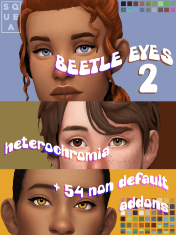 Дефолтные глаза для Sims 4 + гетерохромия - Beetle Eyes v2