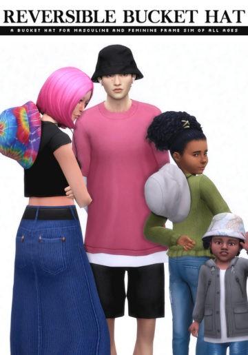 Панамы для Sims 4 - Reversible Bucket Hat