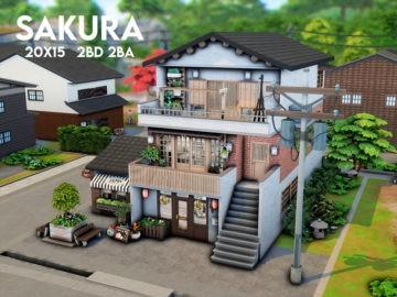 Маленький дом для Sims 4 в японском стиле: Sakura