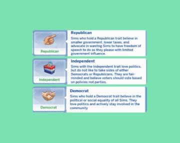 Политические черты характера для Sims 4: Независимый, Республиканец и Демократ