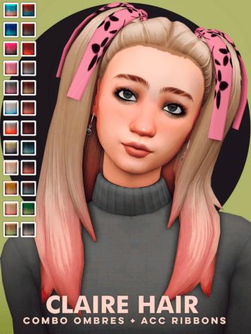 Милая прическа с хвостиками для Sims 4 - Claire Hair