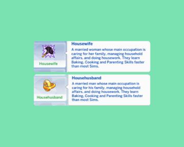 "Черты характера ""Домохозяйка"" и ""Домохозяин"" для Sims 4"