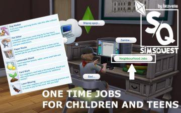 Мод на подработки для детей и подростков в Sims 4 - One Time Jobs for Children and Teens