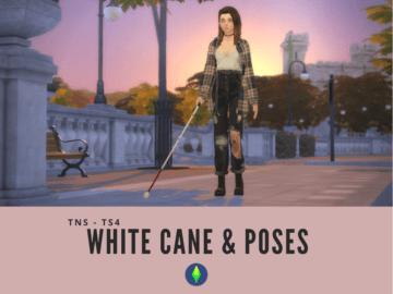 Трость для слепых Sims 4 - White Cane and Poses