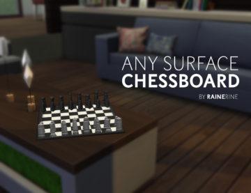 "Мод ""Шахматы на любом столе"" для Sims 4 - Any Surface Chessboard"