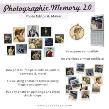 Мод на улучшенные фотографии в Sims 4 - Photographic Memory 2.0